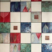 Wallpaper textured faux tiles modern wallcoverings roll blue green red white 3D