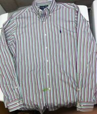 NWT Vtg 90S Polo Ralph Lauren Striped Button Down Shirt L Blue Green Red Sport