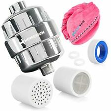 HomeRium 15 Stage Universal Shower Filter & Red Microfiber Hair Towel
