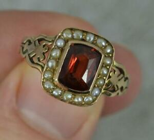 1920s 9 carat Rose Gold Garnet and Seed Pearl Cluster Ring