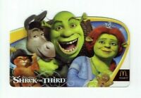 McDonalds Gift Card - Shrek the Third, Donkey, Puss in Boots - 2007 - No Value