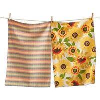 Tag Dishtowel Kitchen Cotton Dish Cloth Plaid Sunflower Yellow Set of 2
