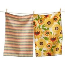 Tag Dishtowel Kitchen Cotton Dish Cloth Plaid Sunflower Yellow Set of 2