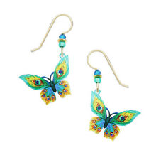 Sienna Sky Peacock Feather Butterfly Green & Yellow Pierced Earrings Made in USA