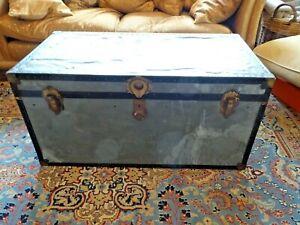 Vintage Mossman Steamer Trunk Shabby Chic 102cm x 50cm x 50cm
