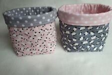 SET 2x PINK & GREY SHEEP Fabric bits & bobs/toys/toiletries Storage Basket boxes