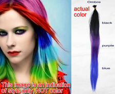 Colorful Rainbow I Tip Hair Extensions Vibrant Gradient Color