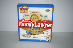 Quicken Family Lawyer 2000 Deluxe Cd Rom Win 95 98 NT Sealed Never Opened