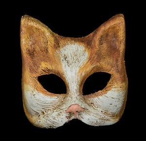 Masque miniature de Venise Chat Bobtail roux Papier mâché de Collection 1316