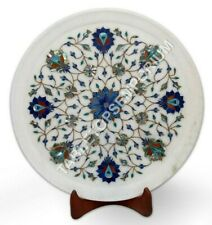 """12"""" Marble Decorative Plate Pauashell Inlaid Floral Marquetry Art Christmas Gift"""