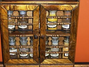 Kitchen Wood Spice Rack Cabinet Apothecary Curio Collection Medicine Cosmetics