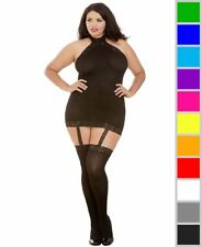 Sheer Dress With Lace Trim Attached Garters Thigh High Stockings Black Queen
