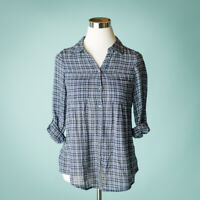 Joie XS Blue Top Blouse Shirt Pinot Plaid Check Tab Sleeve Button Cotton Career