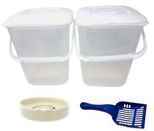 5 X PET SET PLASTIC FOOD STORAGE TUBS BLUE SCOOP CREAM PORCELAIN PAW CAT BOWLS