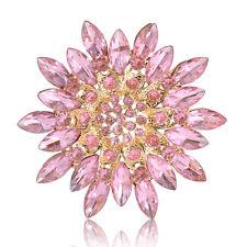 Grace Large Flower Women Lady Party Crystal Rhinestone Silver Brooch Pin Gift