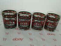 4 Vintage HOUZE Seasons Greetings Rocks Glasses Stained Glass Bar Tumbler Cups