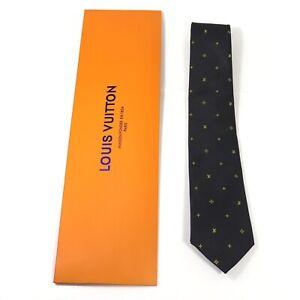 Louis Vuitton men's tie Black & Yellow with figures/Silk