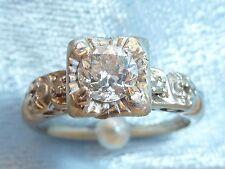 Vintage 14K White Gold Ring, 4.75mm & 2, 1.5mm Diamonds, TCW .48, Size 4.75