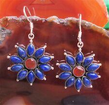 Ohrring Stern Blume Lapislazuli blau Stein d Freundschaft Karneol rot Silber 925