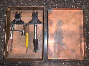 Vtg Starrett No. 50A Adjustable Trammel In Folk Art Homemade Copper Trinket Box!
