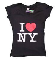 I Love NY New York Womens V-Neck T-Shirt Spandex Ladies Heart Black