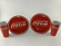 Coca Cola Gibson Red Classic Hard Plastic Melamine Dinner Plate and Tumbler Cup