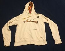 Women's embellished Billabong heathered cream hoodie size small s beb