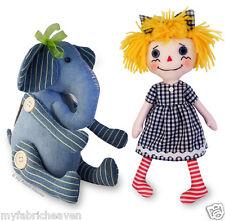 2 X Stuffed Toy Sewing PATTERNS, Denim Elephant & Cute Fabric Rag Doll Easy