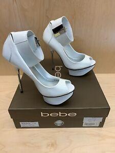 BEBE Nicola KG-ELMO Platform Heels White Peep Toe Size 6 NWB! (A105)