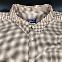 Patagonia Men's Organic Cotton L/S Brown Check Button Up Shirt Size XL