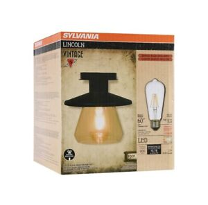 Sylvania Antique Matte Black Lincoln LED Barn Lantern Light Fixture New