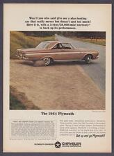"""1964 Plymouth Sport Fury 2-door Hardtop photo """"Get Up and Go"""" print ad"""