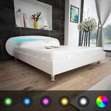 vidaXL Bedframe met LED Modern Kunstleer Wit 180x200 cm Gestoffeerd Bed Frame