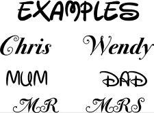 2x Personalised names for glasses - Decals - vinyl - Sticker Car - Van