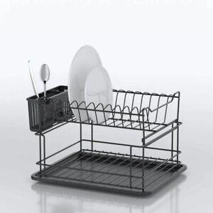 Dish dryer 2-level Black Drier Kitchen Storage Rack Plate holder RUST FREE