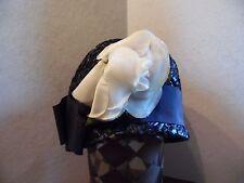 Vintage Navy Blue Woven Straw Raffia Bucket Cloche Ladies Hat Cream Flowers