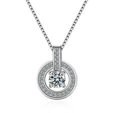 Women's Fashion Solid 925 Sterling Silver Inlaid Zircon Round Pendant Necklace