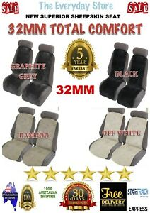 Extra20%Off Sheepskin (Lambswool) Inserts Car Seat Covers Pair 32MM Airbag Safe
