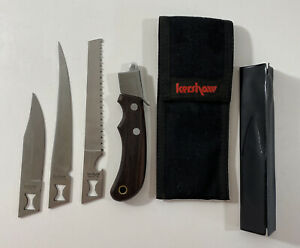 KERSHAW KNIFE 3 Blade Trader Set w/ Sheath 1095 Oregon/Japan Saw-Fillet-Hunting
