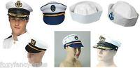 SEA CAPTAIN MARINE SAILOR DOUGHBOY HAT ANCHOR LADIES MEN FANCY DRESS CAP