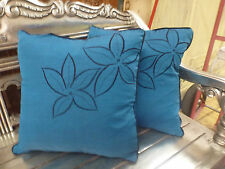 Cotton Cushion Covers Blue Black Hand Made Flower Embroidery (pair) 40cm