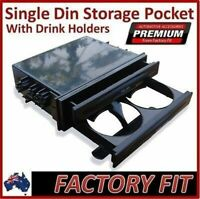 #Universal Single DIN Storage Pocket with Drinking Cup Holder Plastic ABS Fascia