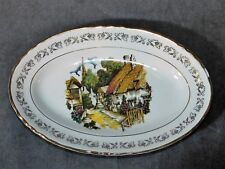 PETIT PLAT FAIENCE MOULIN DES LOUPS DECOR RUELLE PITTORESQUE LONG 22 CM