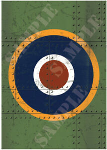 Spitfire Roundel Poster Green Scratch Rivit Panel Graphic A2 A3 A4 WW2 UK Plane