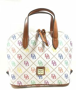 DOONEY & BOURKE WHITE MULTI SIGNATURE STITCHED FABRIC WOMEN'S SATCHEL