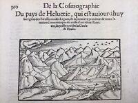 Zurich IN 1575 Alps Swiss Züri Switzerland Rare Engraving On Wood Munster