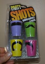 Party Shots Mustache Unbreakable Plastic Shot Glasses 4 Shot Glasses