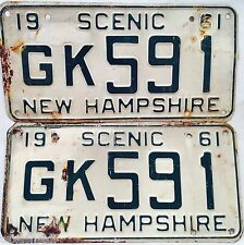Vintage 1961 New Hampshire License Plates Pair Rare Authentic NR