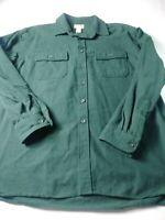 LL Bean Mens Chamois Shirt Size XL Green Long Sleeve Button Front 100% Cotton