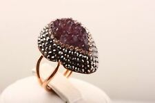 Exquisite! Turkish Jewelry Purple Druzy 925 Sterling Silver Ring Size 5 6 7 8